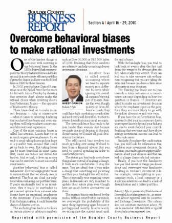 Overcome behavioral biases to make rational investments