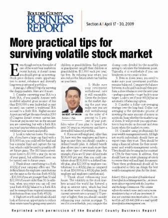 More practical tips for surving volatile stock markets