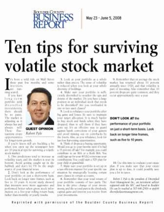 Ten tips for surviving a volatile stock market